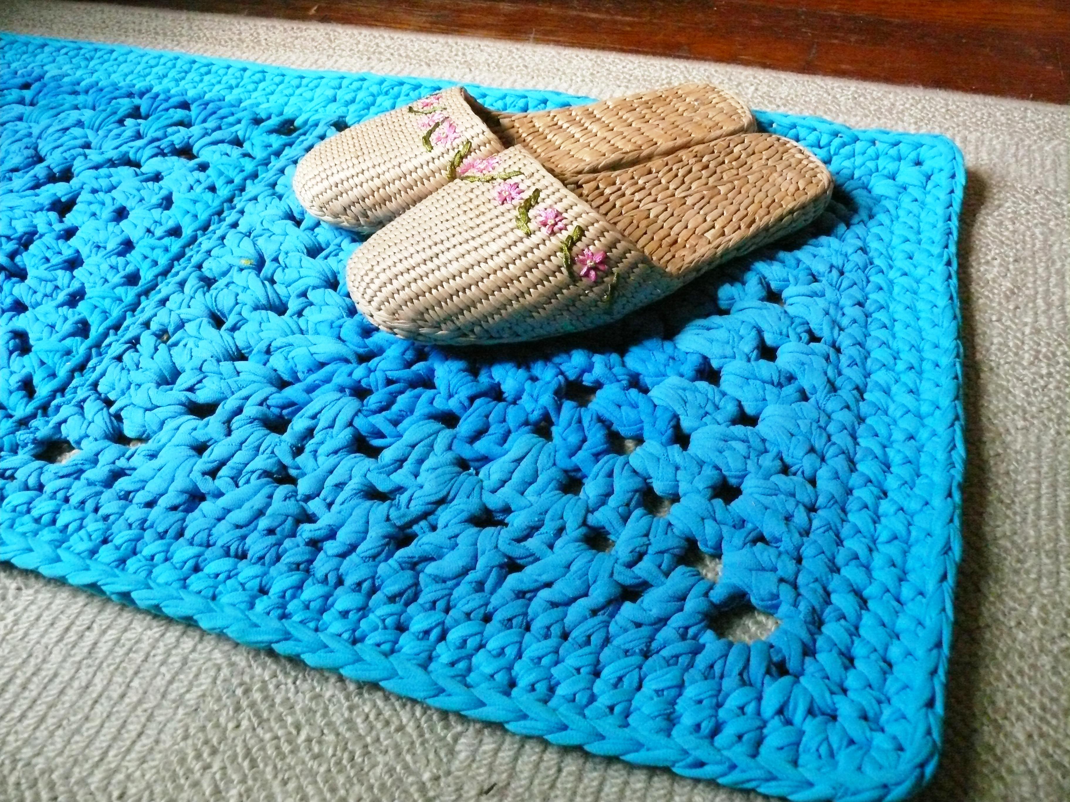 Вязание ковров из пряжи спагетти 76