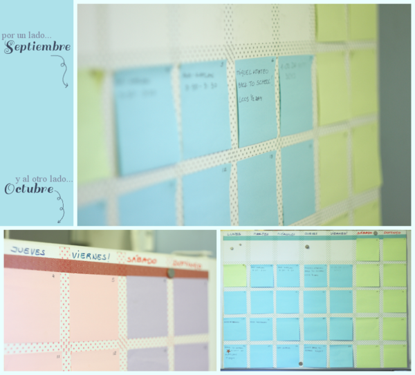 Post-it note and washi tape calendar